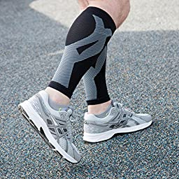 Wanderlust Leg Compression Sleeves With KT Tape Design: Guaranteed Pain Relief & Shin Splints Prevention. Best Calf Support Brace For Running, Cycling, Endurance, Cross Training, Performance, & More!