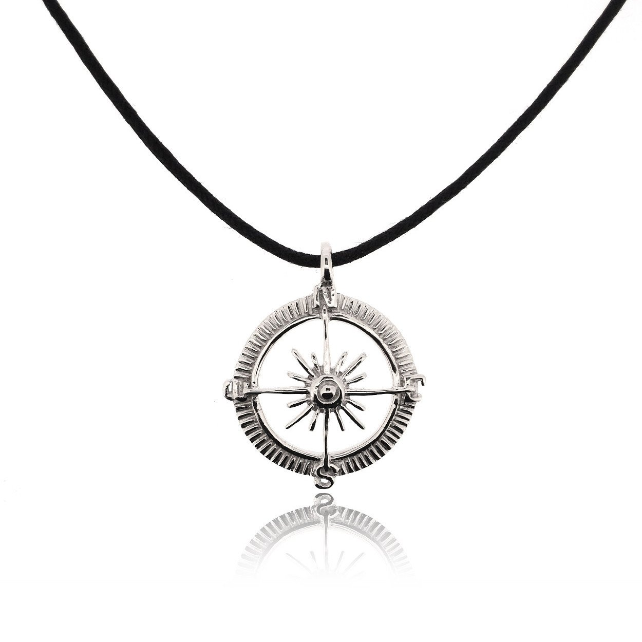 Sterling Silver Rhodium Plated Compass Pendant - DeluxeAdultCostumes.com