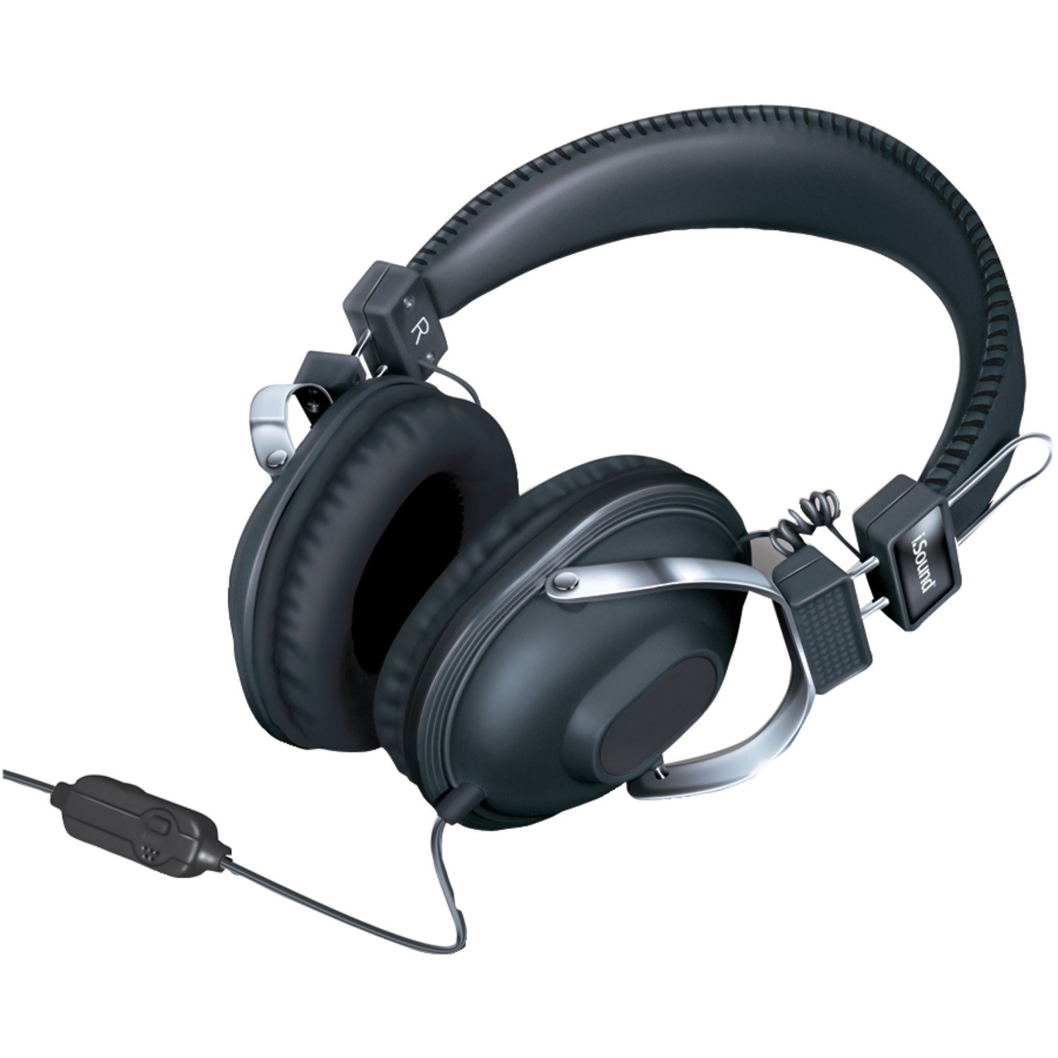 iSound HM-260 Dynamic Stereo Headphones with in-line Mic and Volume controls (black)