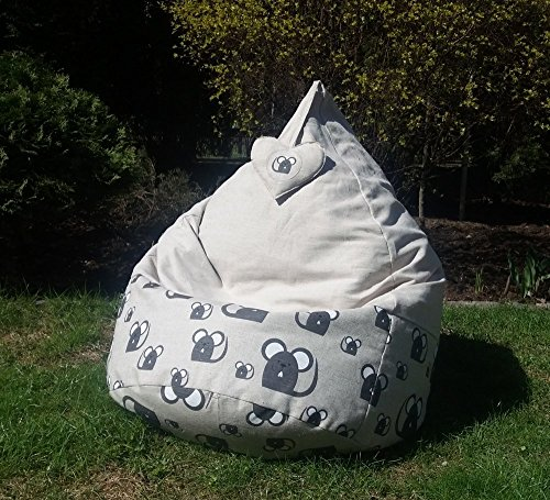 Linen Bean Bag Chair Cover Beanbag for Kids and Adults Original Birthday or Love Gift with hanging Decoration Heart Mouse print Home Decor Children Room soft Furniture Linen Pouf in Mice Fabric