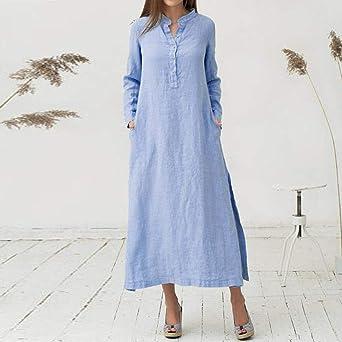 VJGOAL Camisa Extragrande de algodón Casual de Manga Larga para Mujer Falda Elegante y Fresca en Ambos Lados Vestido hasta los Tobillos: Amazon.es: Ropa y ...