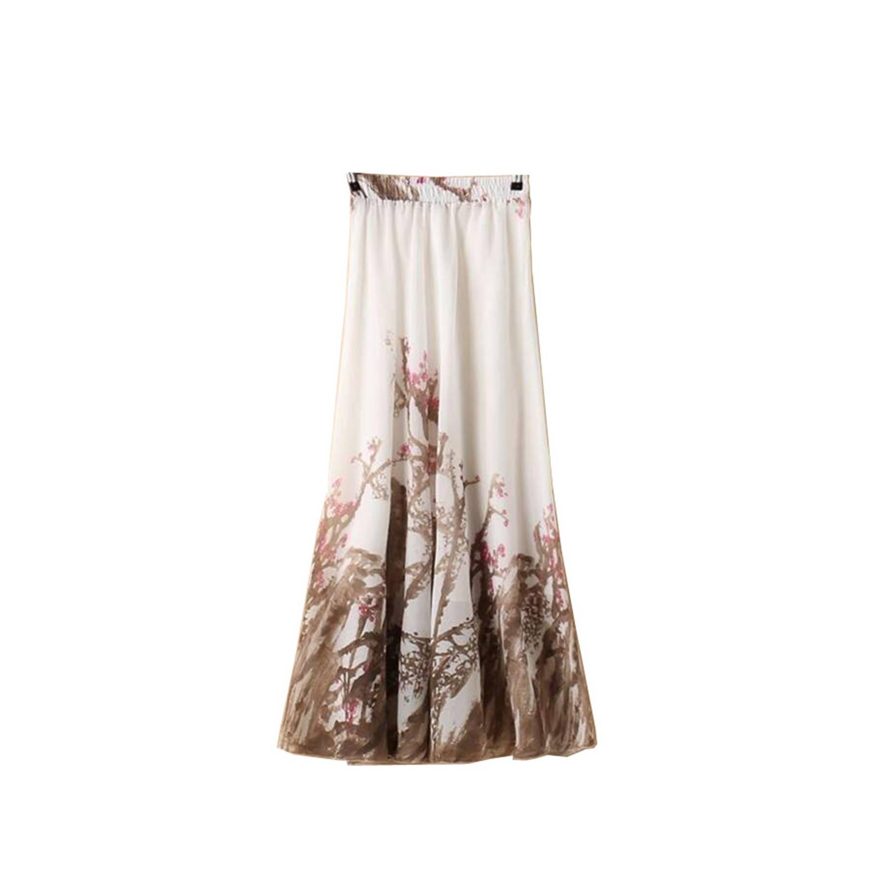 Kaxuyiiy Women's Boho Flower Chinese Painting Beach Maxi Elastic Waist Long Skirt (Brown Plum Flower)