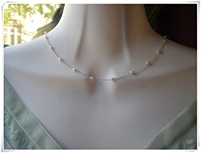No See Long Time White Pearlspearl Necklacefreshwater Pearl Bridal Wedding