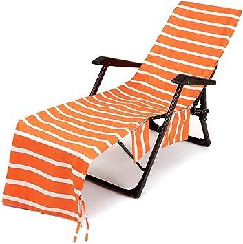 Coil.c - Toalla para tumbona, funda para sillón de jardín, funda para sillón de playa de secado rápido, funda para sillón de playa, funda para silla con bolsillos 215 75 cm, naranja: