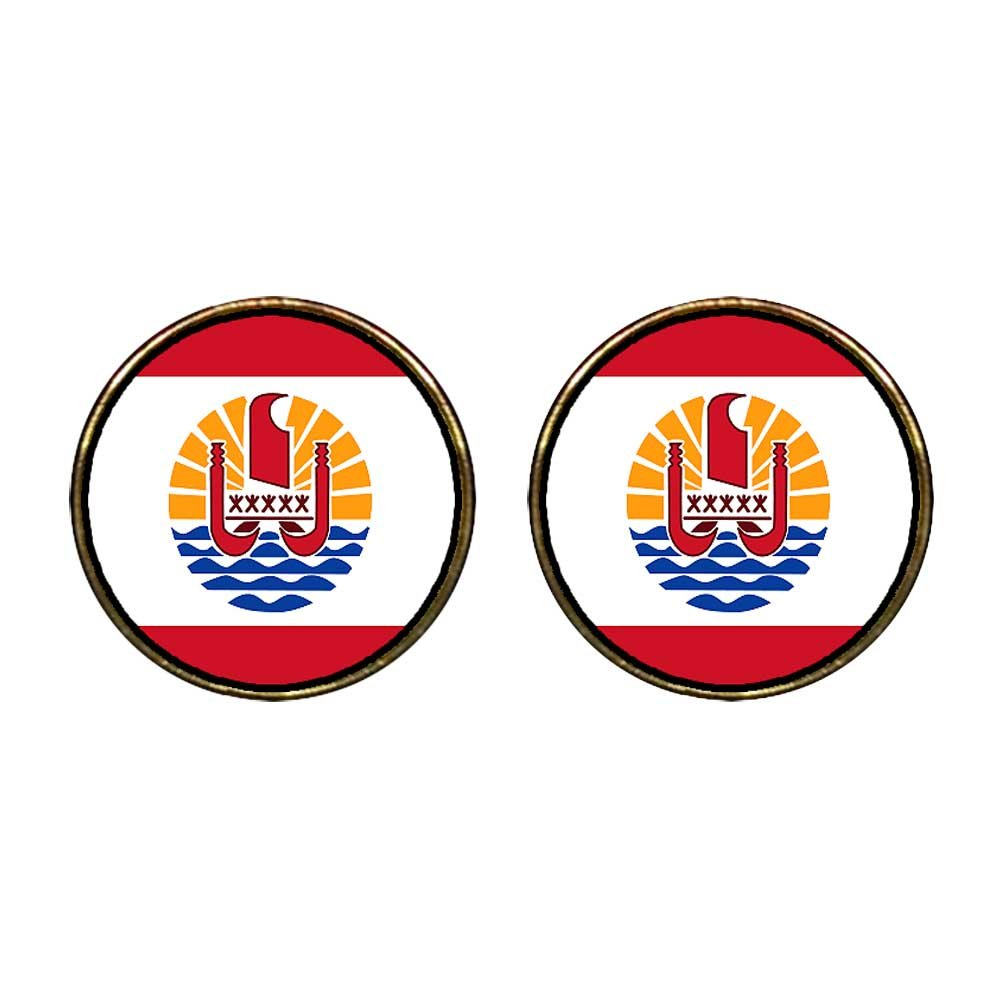GiftJewelryShop Gold Plated French Polynesia flag Photo Stud Earrings 12mm Diameter