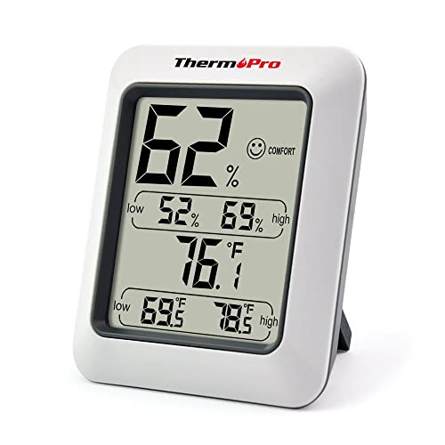 ThermoPro TP50NEW Large LCD Digital Thermo-Hygrometer, Indoor Weather Thermometer Hygrometer Gauge, Monitor Temperature and Humidity Meter for Home Office Comfort, Min/Max Records