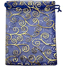"Sosam 100PCS 5x7"" (13x18cm) Drawstring Organza Jewelry Favor Pouches Wedding Party Festival Gift Bags Candy Bags (5x7"", Royal Blue and Gold)"