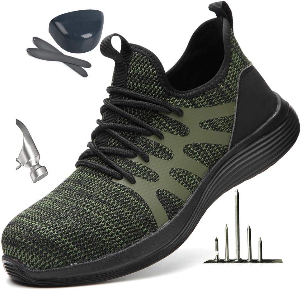 HOAPL Calzado de Seguridad para los Hombres, Zapatos de Punta de Acero con Tira Reflectante, Ligero y Transpirable Antideslizante Zapatos de Ropa de Trabajo,Verde,41: Amazon.es: Hogar