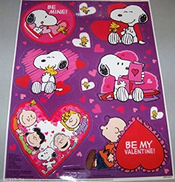 Amazon Com Snoopy Charlie Brown Peanuts Valentine S Day Color Clings Window Mirror Art Stickers Decorations Furniture Decor