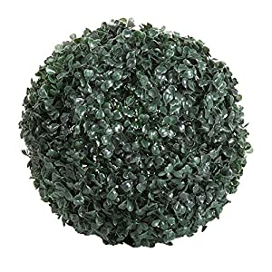 Pure Garden 50-128 Solar Powered LED Artificial Topiary Ball-Decorative Pre-lit Faux Boxwood with Rechargeable Battery-Outdoor Lawn and Garden Decor 28