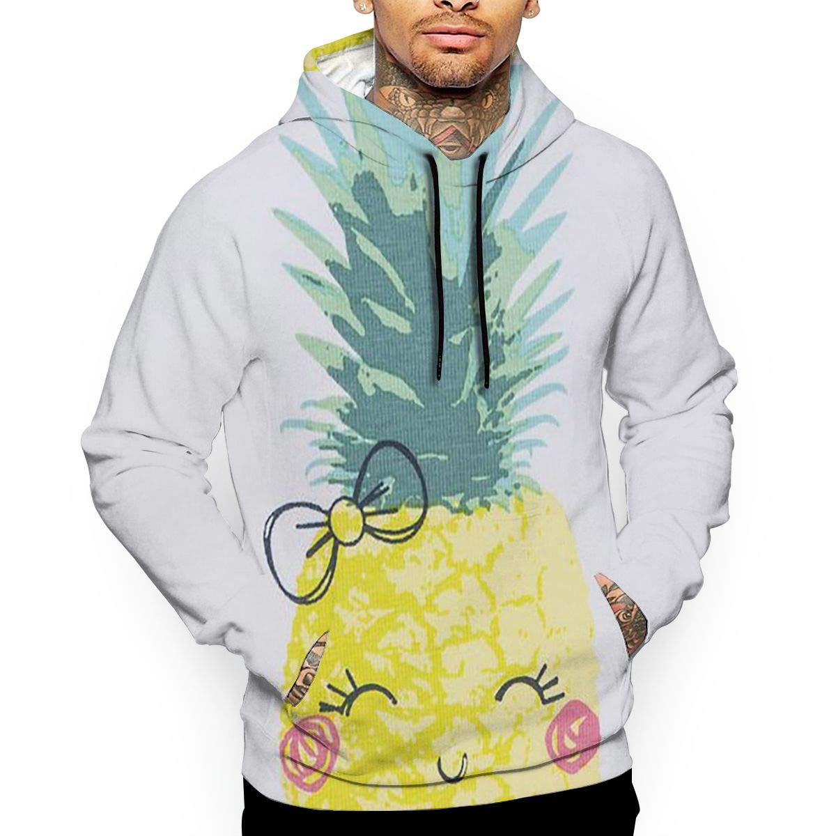 YUANSHAN Pineapple Bow Mans Long Sleeve Hoodie Casual Pocket Hooded Sweatshirt