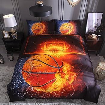 SDIII 2PC Basketball Bedding Microfiber Twin Sport Duvet Cover Set For Boys, Girls and Teens