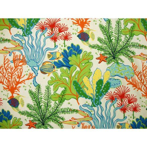 Splish Splash Futon Cover Full Size, Proudly Made in USA (Colorful Ocean Life Print, Fish, Coral, Starfish, Marine Pattern)
