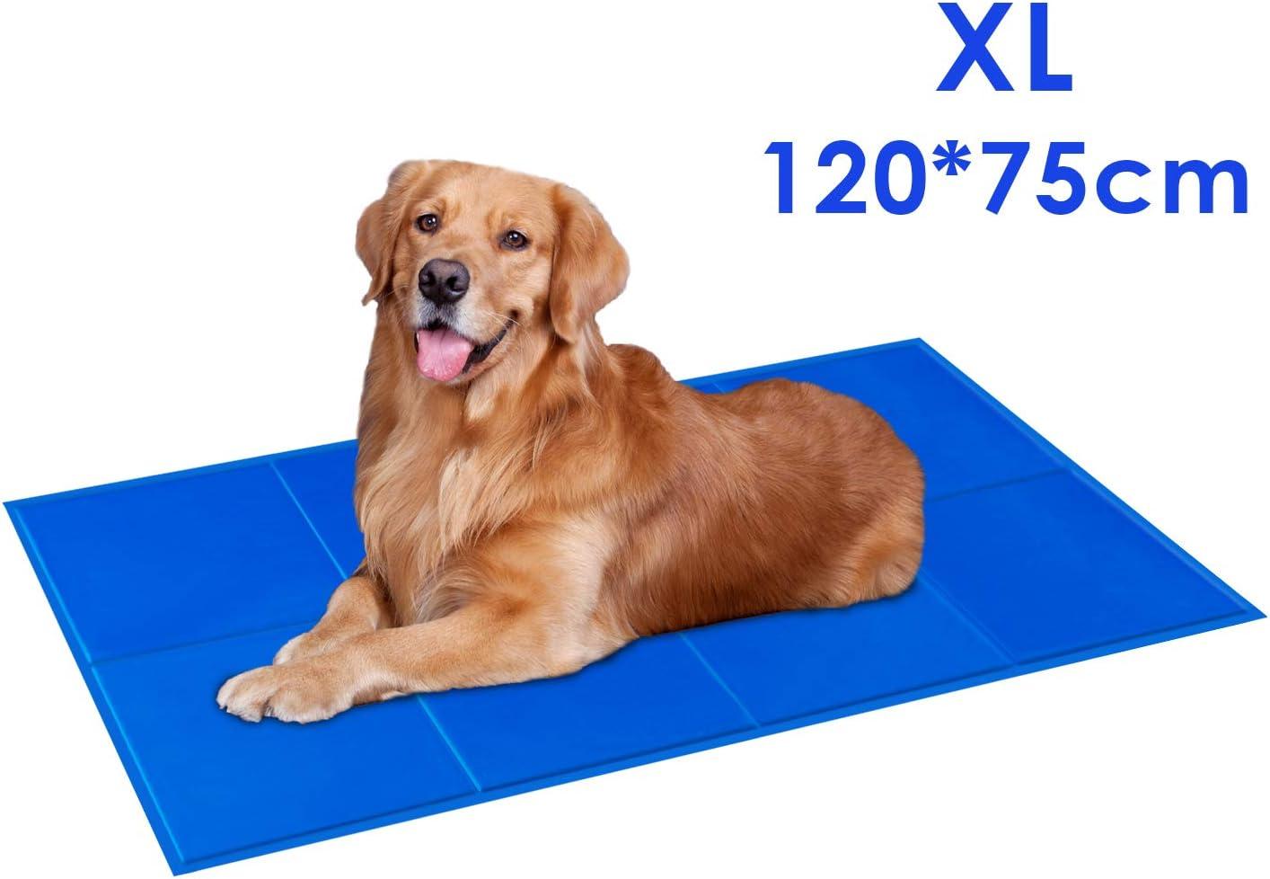PEDY Alfombrilla de Refrigeración para Perros y Gatos, 120 x 75cm Alfombra Refrescante, Enfriamiento para Camas de Mascotas, Gel no Tóxico, Autoenfriante, Impermeable y Resistente a la Rotura