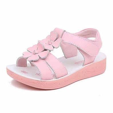 Amazon.com: Sandalias de piel de flor plana para niña (bebé ...