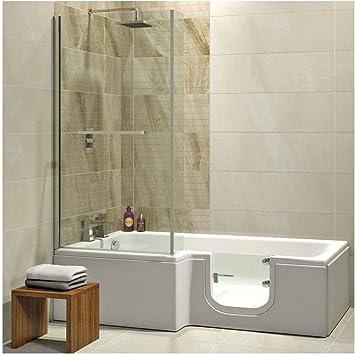 Bañera con puerta, 170 x 85/70 x 53 cm, con cabina de ducha ...