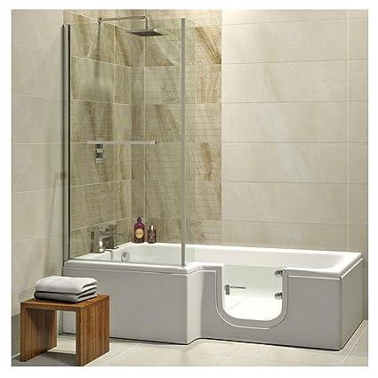 Badewanne mit Tür, Seniorenbadewanne 170x85/70x53cm mit Duschkabine ...