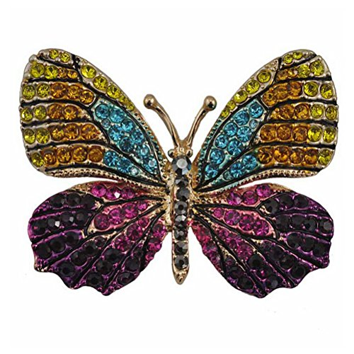 NUOLUX Colorful Rhinestone Butterfly Brooches Pin (Black+Blue+Purple)