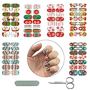 SHAN RUI 6 Sheets Christmas Nail Art Stickers Nail Decals with 1 pair of Scissors, 1 Nail File
