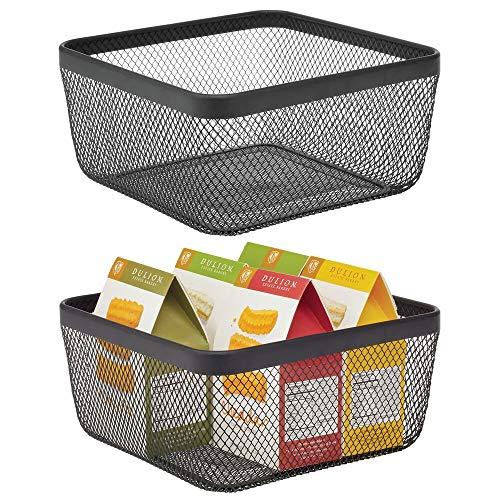 mDesign Farmhouse Decor Metal Wire Food Organizer Storage Bin Basket for Kitchen Cabinets, Pantry, Bathroom, Laundry…