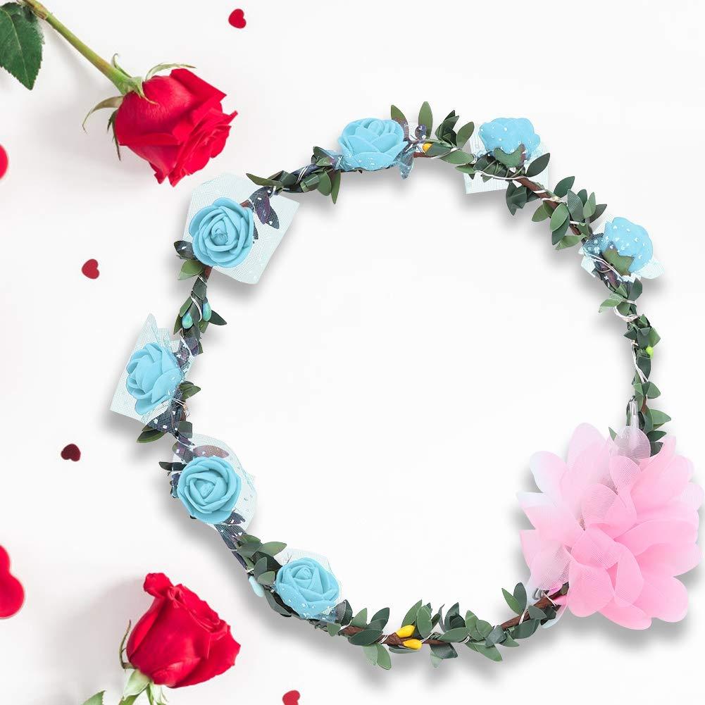 Riuty Light Flower Crown Blue LED Garland Headband Durable Light Up Flower Crown LED Rose Flowers Lights Beautiful Hair Lighting Wreath Built-in Battery