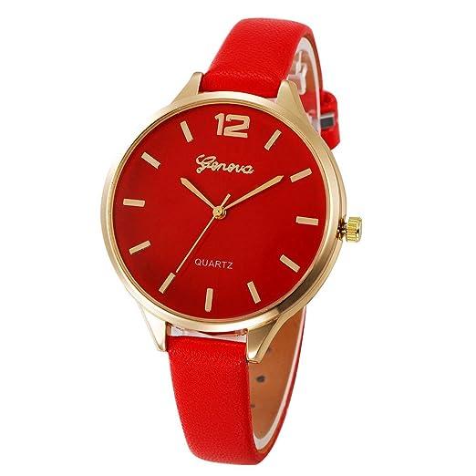 Kinlene Reloje Hombres Mujeres Relojes casuales damas de imitacion de cuero de cuarzo analogico reloj (rojo): Amazon.es: Relojes