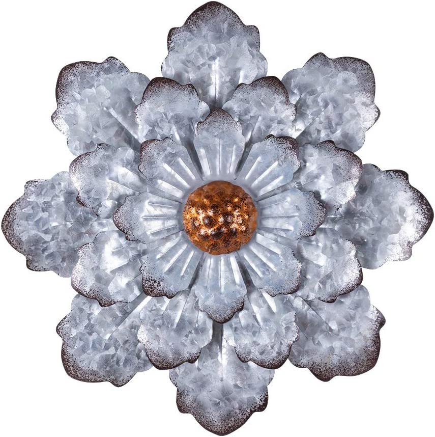 """Keygift Farmhouse Wall Decor, Hanging Rustic Metal Flower for Wall, 12"""" Galvanized 3D Floral Wall Decorations for Garden Yard Living Room Bathroom Outdoor/Indoor Use"""