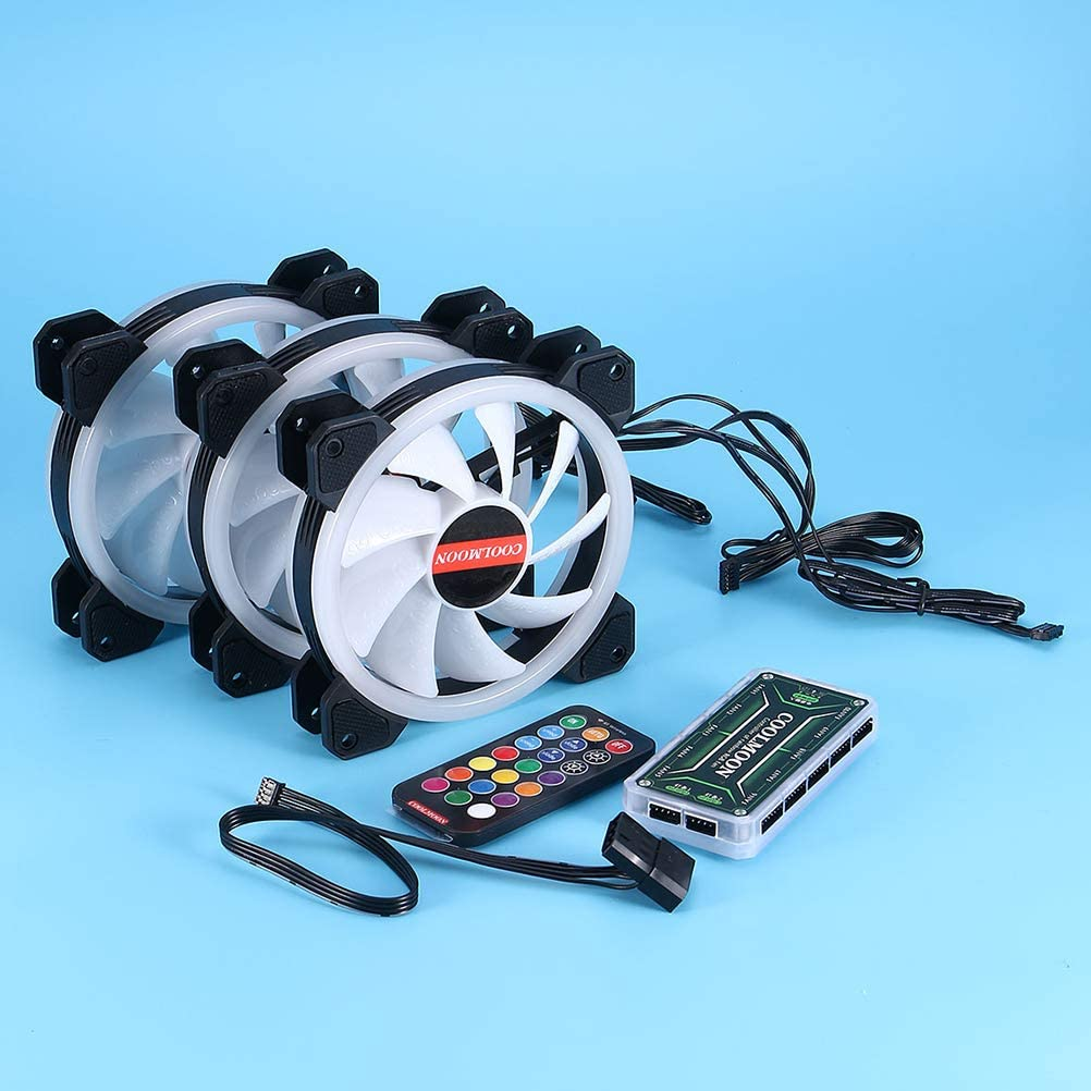 BESPORTBLE 5 Fans Computer Case Fan 120mm RGB Colorful PC CPU Cooling Fan Cooler Silent High Airflow with RGB Controller Summer Fan
