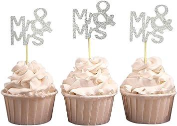 Amazon.com: Darling souvenir, Mr & Mrs boda Cupcake Toppers ...