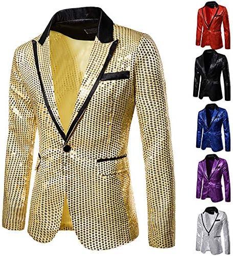 Hochzeit Herren Shiny Pailletten Anzug Multi Farbe und Gr/ö/ße der M/änner H/übsche Jacken-Blazer f/ür Nachtklub XLarge, Rot Partei