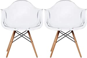 2xhome Set of 2 Clear Plastic Armchair Natural Wood Legs Eiffel Dining Room Chair Lounge Chair Arm Chair Arms Chairs Seats Wooden Wood Leg Wire Leg (Clear - Natural Leg)