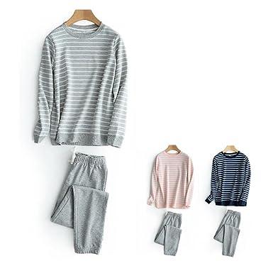 73973d780 HaloVa Women's Pajamas, Striped Couple Sleepwear Set, Autumn Winter Cotton Long  Sleeves Fleece Sweatshirt