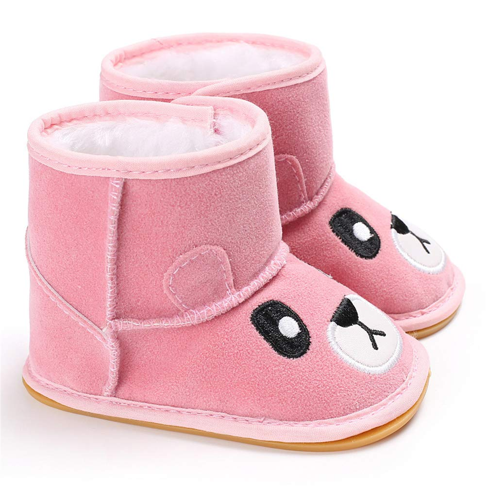 Baby Boys Girls Snow Boots with Cute Cartoon Bear Anti-Slip Soft Sole Winter Snow Boots Infant Warm Shoes