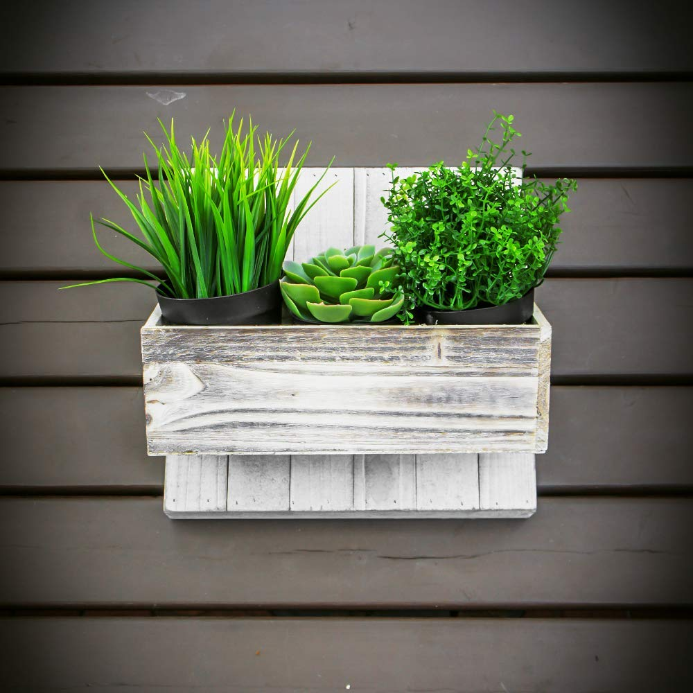 Wood Planter Box Set, Rustic Whitewash, Country House Charm, Plastic Liners, Long Rectangle, 12 x 4 Inch, Wedding Decor and Floral Arrangements, Natur