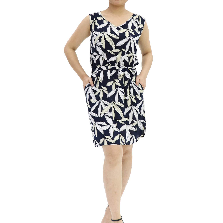Dark bluee Women's Floral Print Self Tie Waist V Neck Side Split with Pocket Light color Midi Short Casual Summer Dress