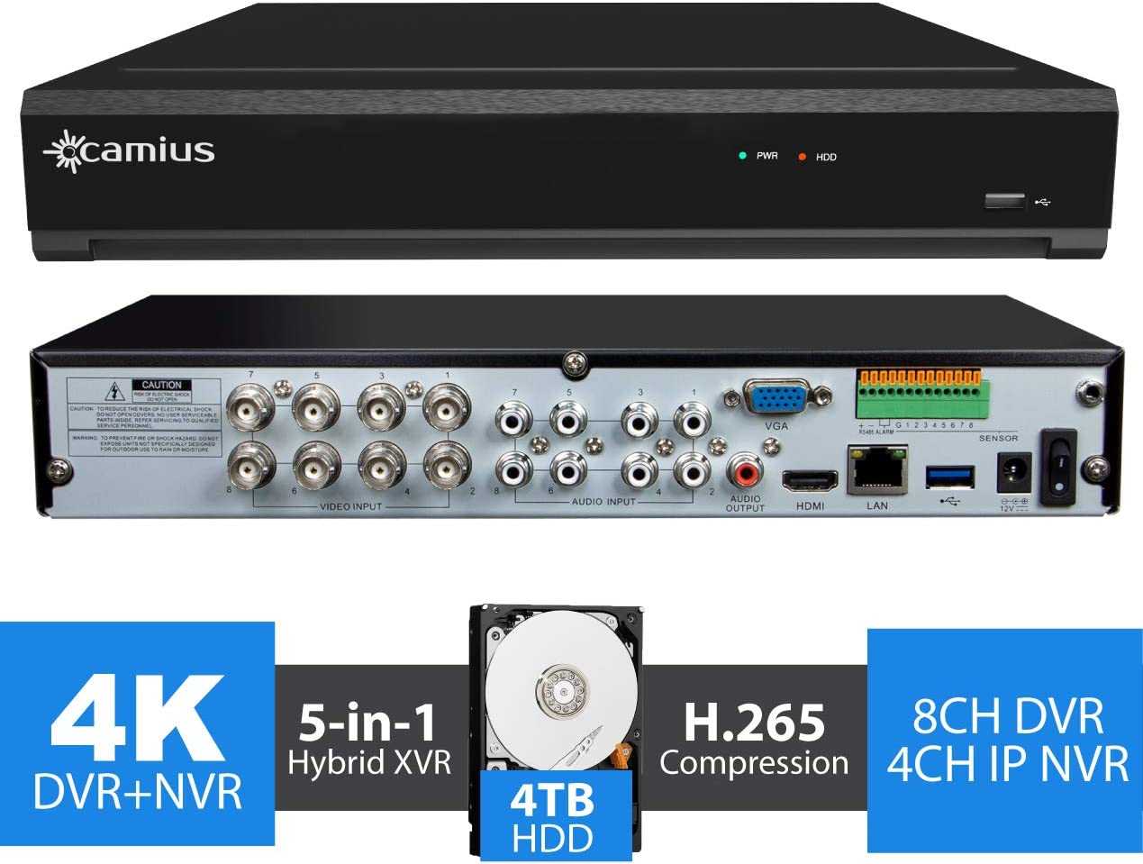 Camius 4K 8MP Hybrid 12 Channel Security DVR NVR with Hard Drive 4TB – Analog 8CH DVR 4CH IP NVR – 4K HDMI, VGA, SPOT-Output, Audio, Alarm IO – Sold Without Cameras