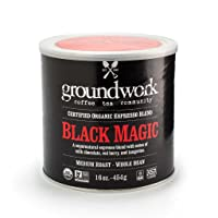 Groundwork Organic Whole Bean Medium Roast Coffee, Black Magic Espresso, 16 oz Can (Pack of 2)