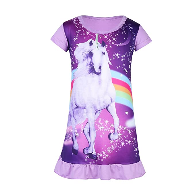 Amazon.com: ranrann Kids Girls Short Sleeves Cartoon Animal Star Rainbow Print Dress Pajamas: Clothing