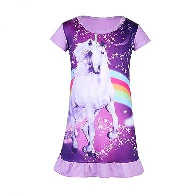 2d9e28984c59f Alvivi Enfant Fille Licorne Chemise de Nuit Pyjama Robe de Nuit Manches  Courtes Imprimé Arc-