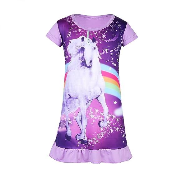 Freebily Camisón Pijama de Unicornio para Niña Vestido Estampado Niña (2-6 Años)
