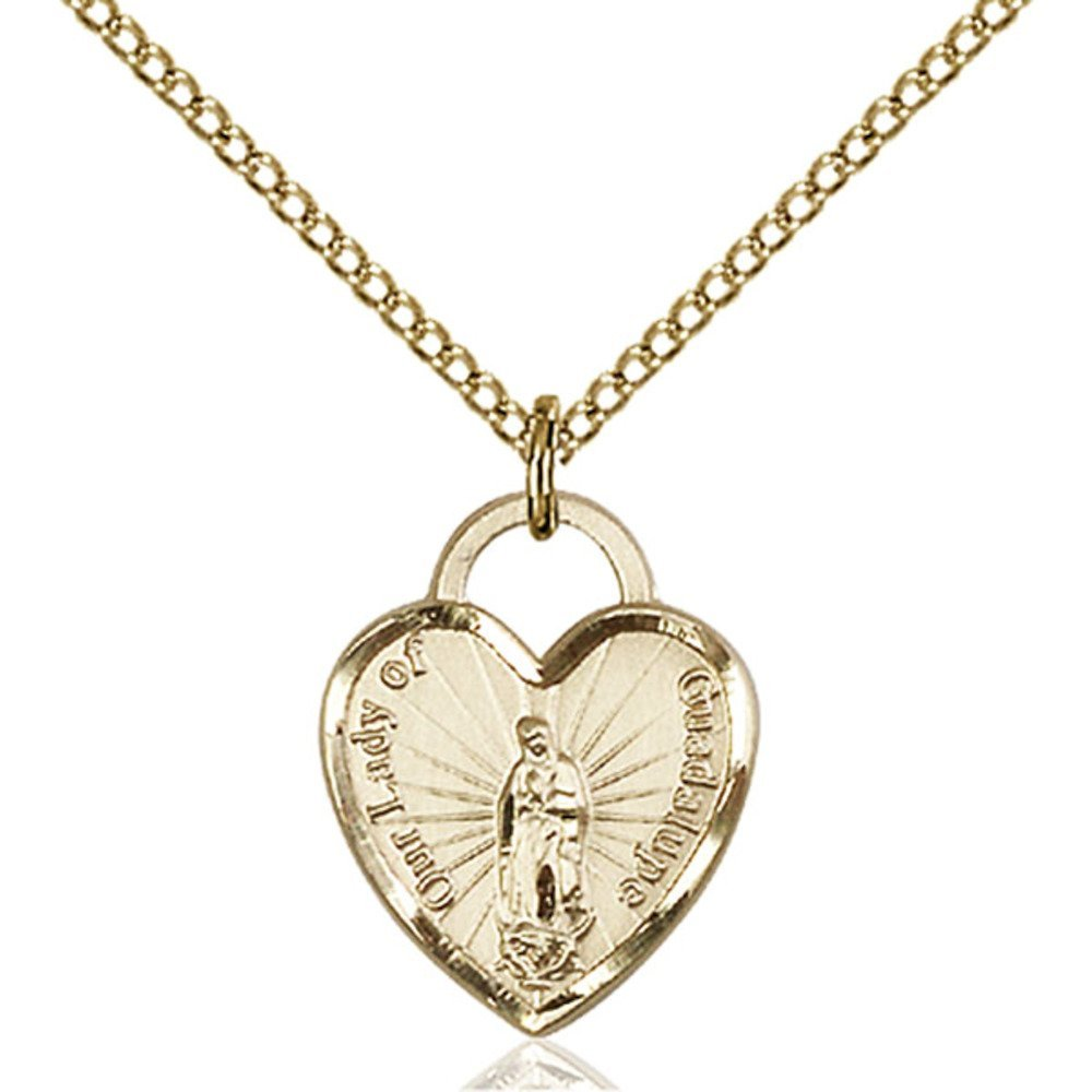 Gold Filled Our Lady of Guadalupe Heart Pendant 5/8 X 1/2 inches with 18 inch Gold Filled Curb Chain