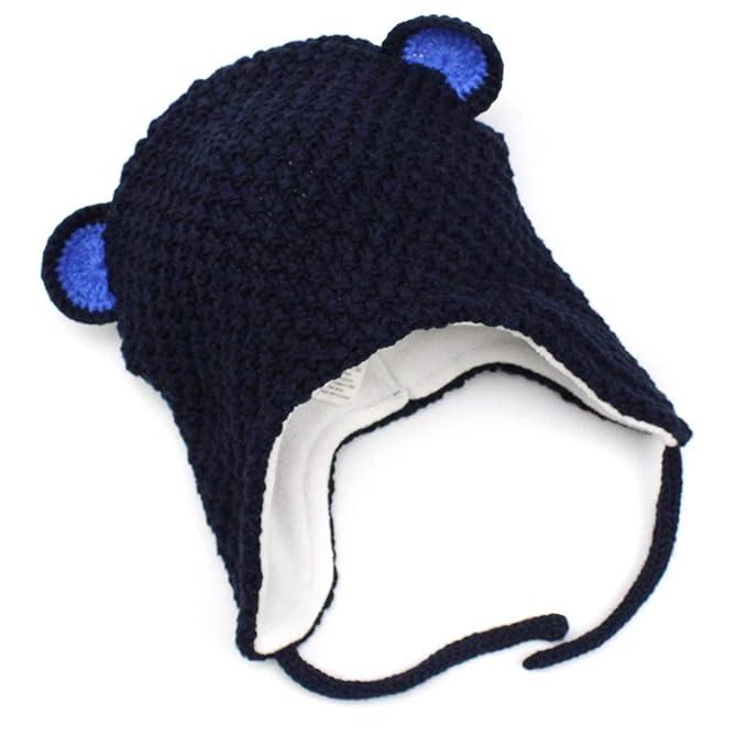 706e77a168ae Langzhen Bébé Bonnet Enfants Protection Oreille Chapeau d hiver Doux Chaud  Bonnet Tricoté  Amazon.fr  Vêtements et accessoires