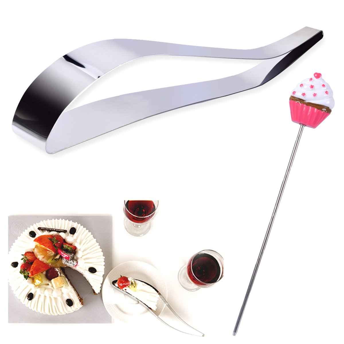 Cake Splitter Blade Creative Cake Server Cutter Set by PROKITCHEN with Cake Tester Perfect for Most Cakes, Pies, and Pastries, Stainless Steel