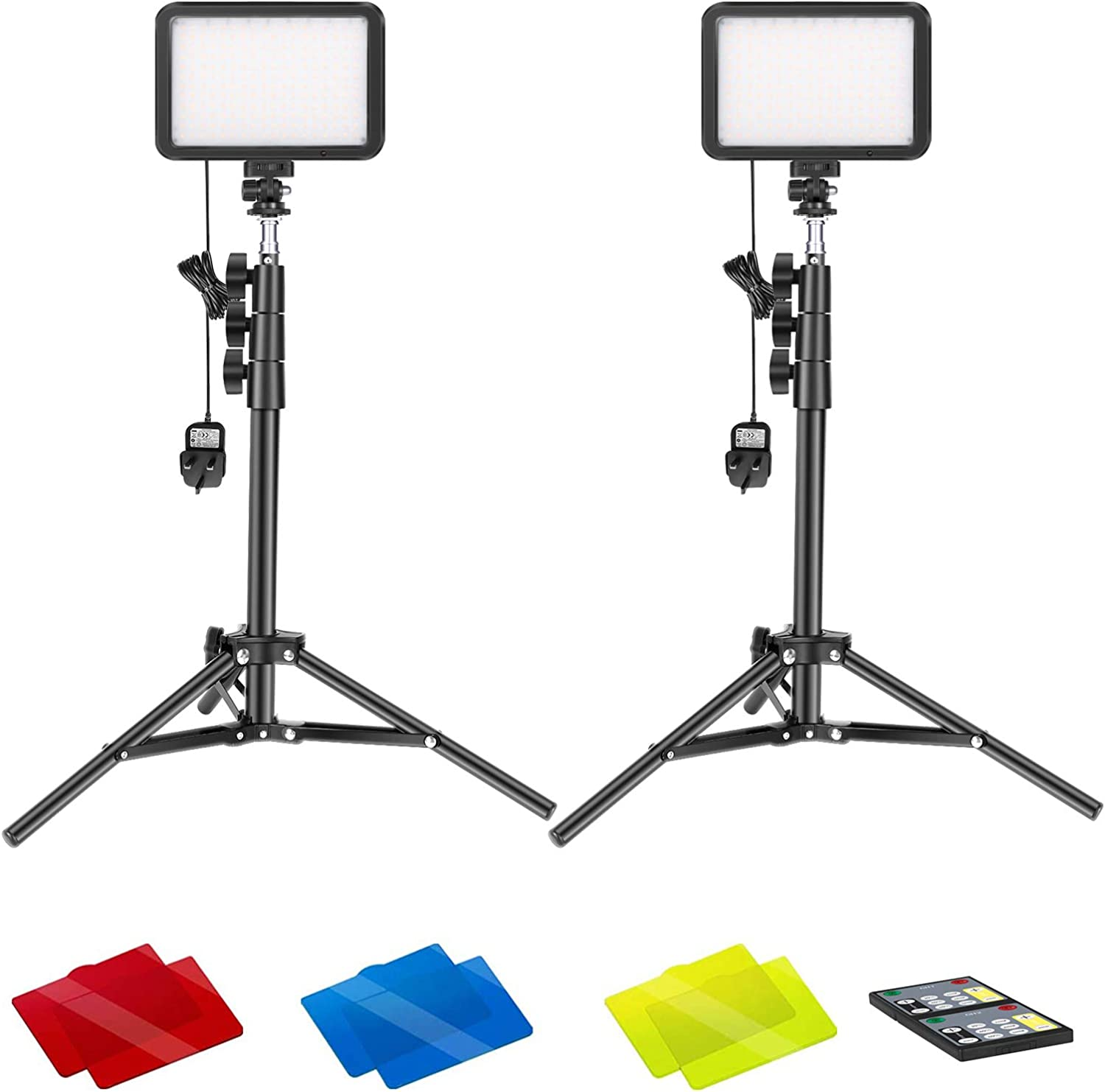 Neewer 2-Pack Conference Lighting Kit with Remote Control for Zoom Call Meeting//Remote Working//Self Broadcasting//Live Streaming 3200K-5600K Dimmable LED Video Light with Tripod Stand//Color Filters