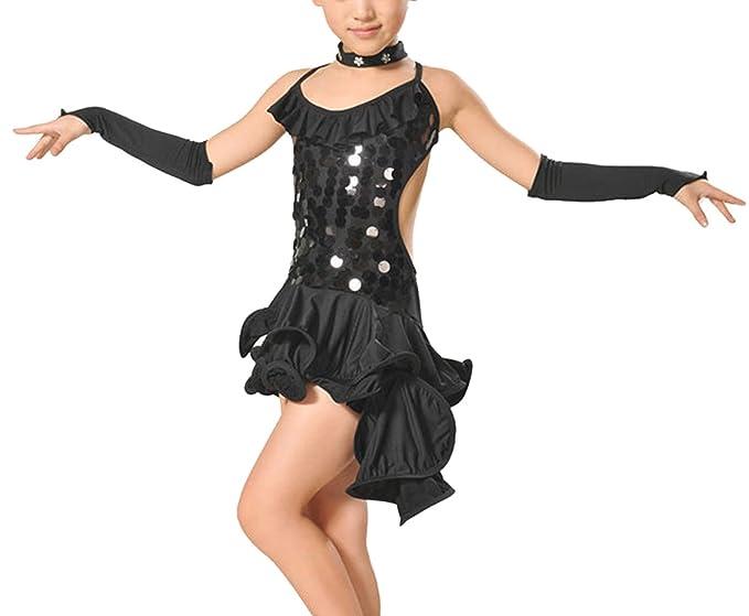 Feoya - Niña Vestido de Baile Latino de Salón con Lentejuelas Brillates Etapa Trajes - Negro