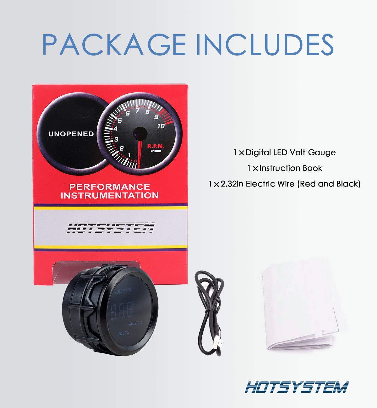 HOTSYSTEM Electronic Voltmeter Voltage Volt Gauge Meter Blue Digital LED 2inches 52mm for Car Vehicle Auto