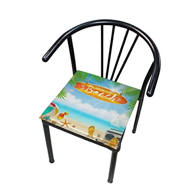 "Bardic HNTGHX Outdoor/Indoor Chair Cushion Summer Beach Theme Square Memory Foam Seat Pads Cushion for Patio Dining, 16"" x 16"": Home & Kitchen"