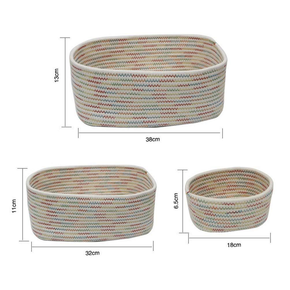 Gris, 18 * 6.5cm Haobing Cesta de Almacenaje Tejidas Cuerda de Algod/ón Decoraci/ón Hogar Juguetes Canasta de Slmacenamiento