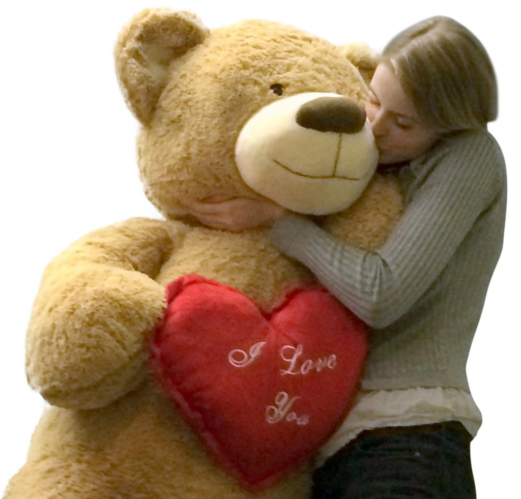 Amazon.com: I Love You Giant Teddy Bear 5 Foot Soft Tan 60 Inch, Holds  Heart Pillow: Toys U0026 Games