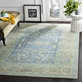 Safavieh Valencia Collection VAL123M Blue and Multi Vintage Distressed Silky Polyester Area Rug (8′ x 10′) Review